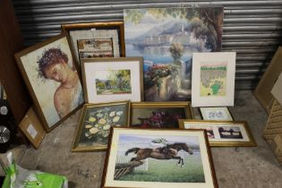 A COLLECTION OF ASSORTED PICTURES AND PRINTS TO INCLUDE AN ANTIQUE STILL LIFE OIL ON CANVAS