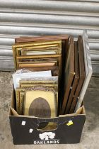 A SMALL TRAY OF PICTURES TO INCLUDE PORTRAIT ENGRAVINGS, FRAMES ETC.