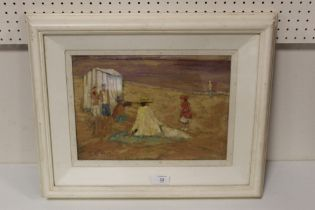 AFTER EDWARD LE BAS (1904-1966). An impressionist beach scene with figures and a bathing tent. Bears