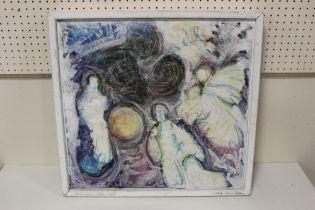 GERDA VAN DE WINDT. A modernist figure study 'East Meets West'. Signed and dated 2005 on frame lower