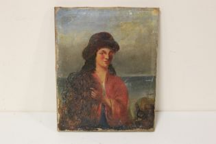 AN ANTIQUE UNFRAMED OIL ON CANVAS PORTRAIT STUDY OF A LADY 20.5 CM BY 26 CM