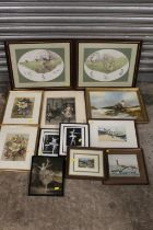 A COLLECTION OF ASSORTED PICTURES AND PRINTS TO INCLUDE A GILT FRAMED OIL ON CANVAS, BALLERINA
