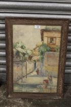 (XIX-XX). A continental street scene with figures, indistinctly signed lower left, watercolour,