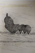AFTER HENRY MOORE. A study of a large modernist sculpture in a field, bears signature upper left and