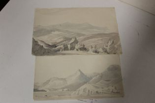 MARY MARTIN, NEE BUCKLE (b. 1800). Two monotone mountainous landscapes with buildings. Unsigned,