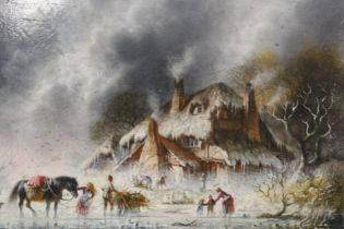 C.M. LISLE (XX). A Dutch stormy frozen river landscape with dog, horse and figures before a