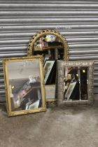 A GILT FRAMED ARCH TOPPED WALL MIRROR OVERALL- 86CM X 47CM , TOGETHER WITH TWO OTHER WALL MIRRORS (