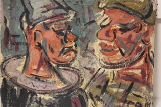 G. R. M. (XX). An impressionist head and shoulder study of two clowns. Signed with initials lower
