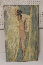 B. D. (XX). An impressionist study of a female nude. Signed with initials lower left, oil on