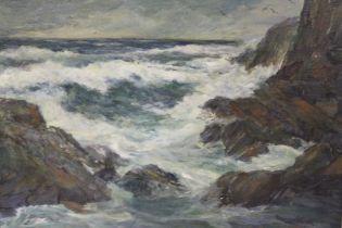 (XX). A stormy rocky coastal scene with heavy surf breaking on rocks. Indistinctly signed lower
