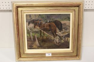 (XX). An impressionist study of working horses and carts. Signed lower left, oil on board, framed, ,