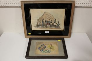 TWO FRAMED AND GLAZED MILITARY INTEREST PICTURES TO INCLUDE A HAND COLOURED EXAMPLE