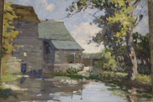 HASLAM (XX). An impressionist farmstead scene with ducks on a pond surrounded by trees. Signed lower