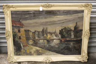 (XX). Impressionist scene of Paris at twilight, signed upper right, oil on canvas, framed, 59 x 90