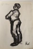 CIRCLE OF JOHN KYFFIN WILLIAMS (1918-2006). A figure study. Bears initials lower right and bears