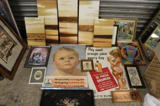 A BOX OF PICTURES AND PRINTS TO INCLUDE VINTAGE UNFRAMED ORANGE JUICE ADVERTISING POSTERS, CROSS