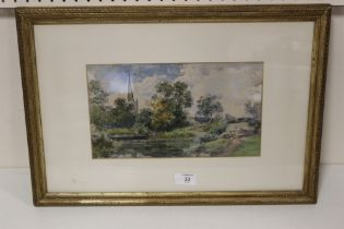 CHARLES ROWBOTHAM. A wooded river landscape with church 'Church at Stratford on Avon', signed with