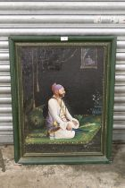 P. On KARLAL (XIX-XX). Indian school, portrait study of a nobleman kneeling on a mat and holding a