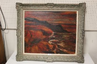 (XX). An impressionist stormy rocky coastal scene. Indistinctly signed lower left, oil on canvas,