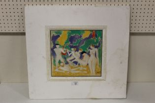 (XX). A modernist study of male and female nudes in a landscape, signed lower right, watercolour,