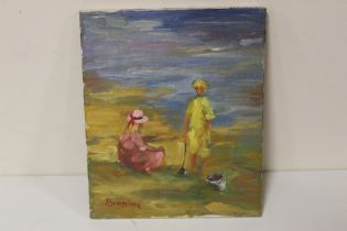 BROPHY (XX). An impressionist beach scene with two children. Signed lower left, oil on canvas,