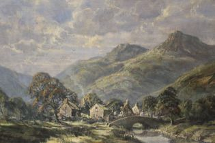 R.G. TROW. Modern British school. mountainous landscape with village, signed and dated 1924 lower