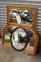 TWO PINE FRAMED OVERMANTEL MIRRORS TOGETHER WITH AN OVAL SHAPED EXAMPLE (3) LARGEST OVERALL -75CM