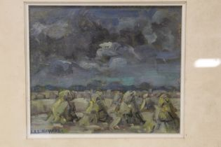 BAS. HEYMANS (XX). Dutch school, an impressionist stormy landscape with corn stooks. Signed lower