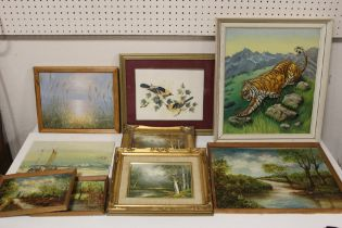 A COLLECTION OF ASSORTED OIL PAINTINGS AND PRINTS ETC. TO INCLUDE COUNTRY LANDSCAPES SIGNED G.