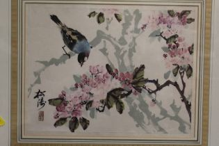 A FRAMED AND GLAZED SIGNED ORIENTAL WATERCOLOUR OF A BIRD AND TREE BLOSSOM, OVERALL HEIGHT 53.5 CM