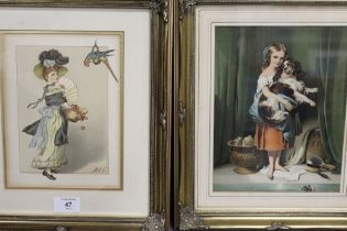 TWO FRAMED AND GLAZED LATE VICTORIAN / EARLY EDWARDIAN PRINTS OF LADIES, OVERALL HEIGHT 34 CM