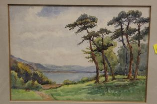 A FRAMED AND GLAZED WATERCOLOUR OF A LAKE SCENE, OVERALL HEIGHT 40.5 CM