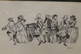 A FRAMED AND GLAZED INK DRAWING OF DANCING FIGURES SIGNED LOWER RIGHT