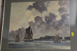 A FRAMED AND GLAZED WATER OF YACHTS OFF THE COAST, SIGNED R.COOKE 86 LOWER RIGHT, OVERALL HEIGHT
