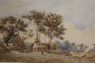 A LARGE FRAMED AND GLAZED WATERCOLOUR OF A COUNTRY COTTAGE, OVERALL HEIGHT 64 CM