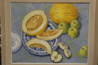 A FRAMED OIL ON BOARD STILL LIFE OF MELONS AND OTHER FRUIT, SIGNED HEATHER TAYLOR LOWER RIGHT,