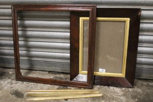 TWO 19TH CENTURY ROSEWOOD FRAMES WITH GOLD SLIPS, frame w 3.5 and 5.5 cm, rebates 46 x 43 cm & 37
