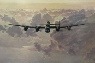 A LARGE FRAMED AND GLAZED COULSON PRINT OF A BOMBER - OVERALL HEIGHT 61.5 CM , TOGETHER WITH A