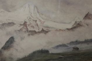 A FRAMED AND GLAZED ALPINE SCENE WATERCOLOUR, BY FRANCIS DA PONTE PLAYA, SIGNED AND DATED LOWER LEFT