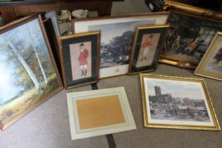 A QUANTITY OF PICTURES AND PRINTS TO INCLUDE HUNTING PRINTS
