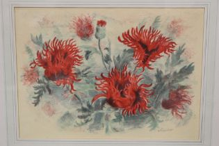 A FRAMED AND GLAZED STILL LIFE LITHOGRAPH OF FLAMING POPPIES, SIGNED LOWER RIGHT, OVERALL HEIGHT
