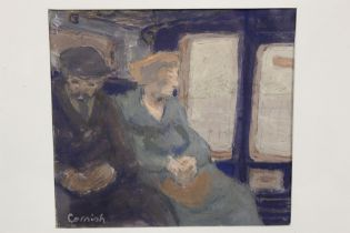 CIRCLE OF NORMAN CORNISH (B. 1906). An impressionist study of man and wife in a train carriage.
