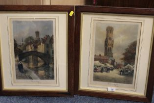 A PAIR OF FRAMED AND GLAZED COLOUR PRINTS OF BRUGES - THE CLOTH MARKET AND THE PONT DU CHAVAL,