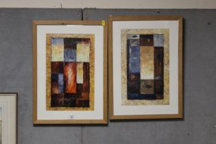 A PAIR OF FRAMED AND GLAZED POLISH SCHOOL GEOMETRIC ABSTRACT OIL ON BOARD SIGNED 'SUM' LOWER