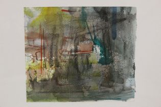 A FRAMED ISRAELI SCHOOL ABSTRACT WATERCOLOUR SIGNED AND DATED LOVER RIGHT '91, OVERALL HEIGHT 45.5