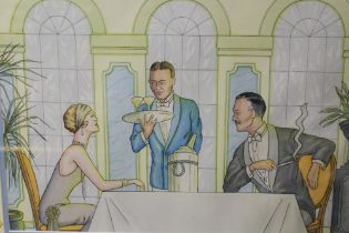 A FRAMED AND GLAZED WATERCOLOUR OF AN ART DECO RESTAURANT SCENE, SIGNED LOWER RIGHT, OVERALL