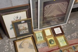 A QUANTITY OF PICTURES, PRINTS, FRAMES ETC., TO INCLUDE A FRAMED AND GLAZED PAIR OF ANNIE RETIUAT