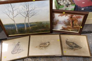 A QUANTITY OF PICTURES AND PRINTS TO INCLUDE AN OIL ON CARD SIGNED A. M. DAVENPORT AND THREE BIRD