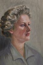 A FRAMED OIL ON BOARD PORTRAIT OF A LADY, OVERALL HEIGHT 53 CM