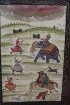 A LARGE FRAMED AND GLAZED SUB CONTINENTAL SCENE OF VILLAGERS ATTACKING TWO TIGERS, AN OIL PAINTING